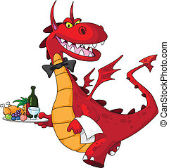 dragon waiter with food tray - illustration of a dragon...
