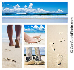 Collage of feet, footprints and shoes on the beach
