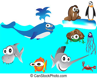 hand drawn sea animals,cartoon sea animals,set of various...