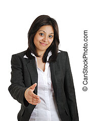 Business woman offering handshake - This is an image of a...