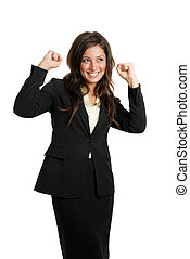 Business woman celebrating success with hands raised - This...