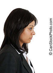 Business woman looking away in seriousness