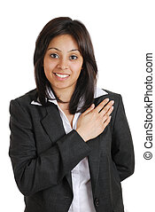 Business woman pledging with hand on chest