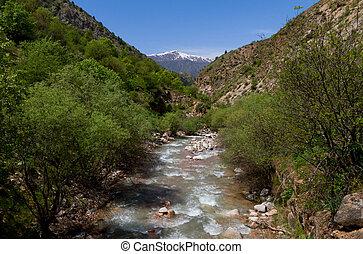 Mountainous Tajikistan - The mountain river in Tajikistan,...