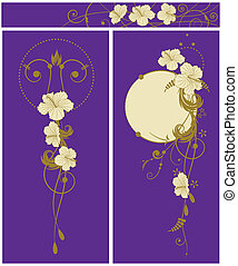 set of floral background with hibiscus - set of the vector...