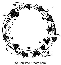 ivy frame - vector round frame with branch of ivy