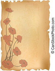 poppies on old paper