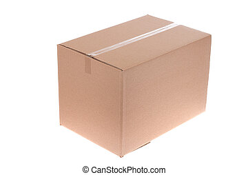cardboard box, photo on the white background