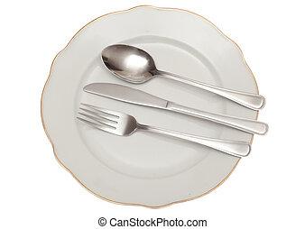 empty plate fork spoon knife