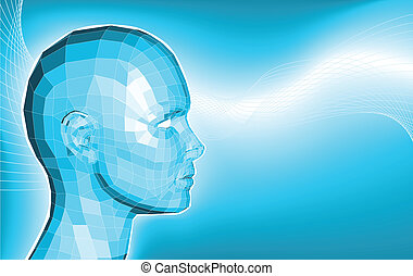 Futuristic 3d face business background - A futuristic blue...