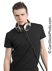 Teenager with stereo headphones - Photo of a male in his...