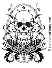 skull and butterfly - vector illustration of the skull and...