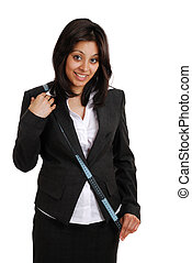 Business woman using measuring tape