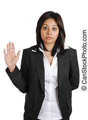 Business woman pledging with hand raised