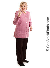 Elderly woman threatens with a finger