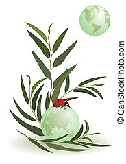 ladybird and globe - vector illustration of the ladybird and...