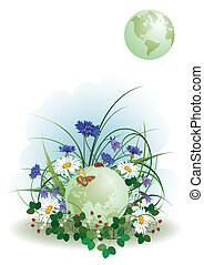 ladybird, butterfly and globe - vector illustration of the...