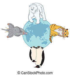 animals and globe - vector illustration of the animals and...