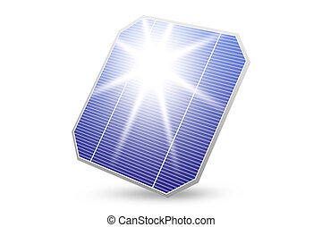 solar energy panel with sun reflection isolated