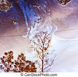Gasoline film on the surface of the water-polluting - Color...