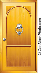 Wooden Door - illustration of metal door knob on wooden door