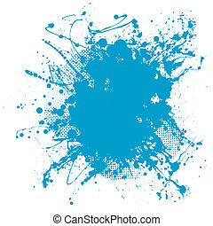 blue blob - Grunge ink splat background blob with halftone...