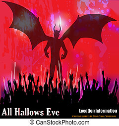 All Hallows Eve Vector Background - A demon on Halloween...