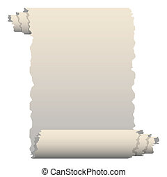 Paper - Illustration of old paper roll on a white...