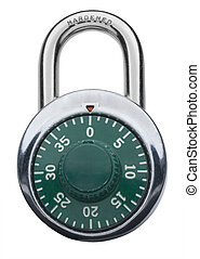 Combination lock - Combination Padlock in green in locked...