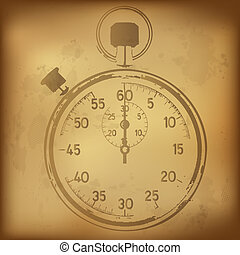 Antique Stopwatch, Vector Illustration