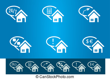 for sale house icon set