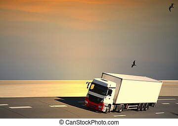 withe, camion,  semi, autoroute