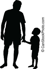 Fatherhood - Detailed Silhouette of father and son.. holding...