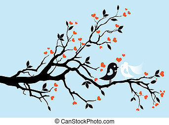 wedding birds, vector - wedding birds kissing on a tree,...