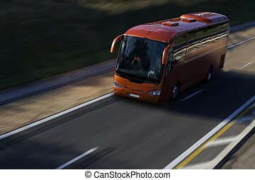 speed red bus on highway