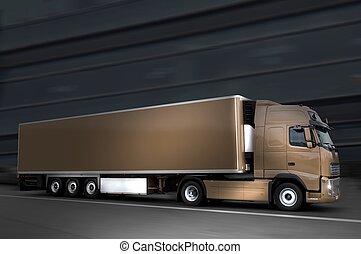 semi, camión, noche