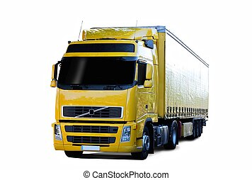 yellow semi truck with white background