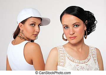 Portrait of beauty girl and pretty tomboy - Portrait of...
