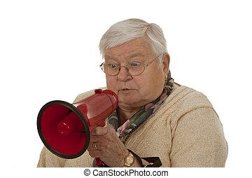 Female senior with megaphone