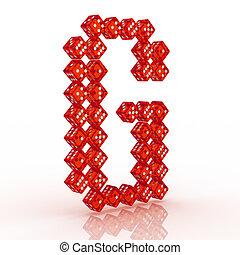 Dice Font. Letter G - Dice font letter G. Red refractive...