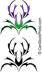 Thistle tattoo design in two different colors