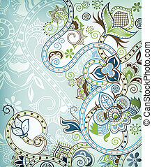 Abstract Floral Scroll - Illustration of abstract floral...