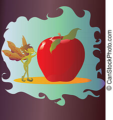Apple Fairy - A fairy leaning against a large, red, juicy...