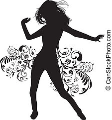 dancing girl with a floral background