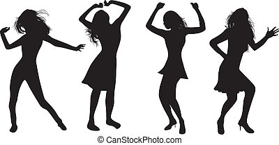 dancing girls - silhouettes of dancing girls