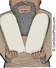 Moses - Illustration of Biblical Prophet Moses holding two...