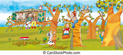 trees campaign swing kids play,