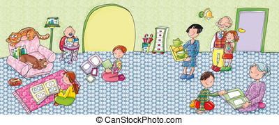 family, grandparents, parents, grandchildren, children,...