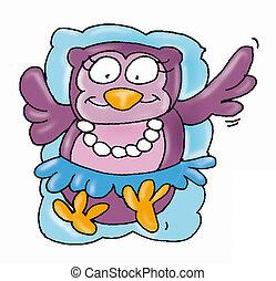 owl mascot, jump, dress, necklace