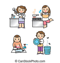 mother illust set - Illustration of woman who does housework